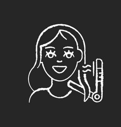 Hair styling chalk white icon on black background vector