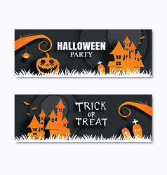 halloween party invitations banner and greeting vector image