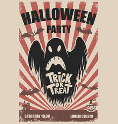 Halloween party poster template scary ghosttrick vector