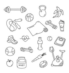 Hand drawn fitness doodles isolated set vector