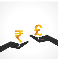 Hand hold rupee and pound symbol to compare vector image