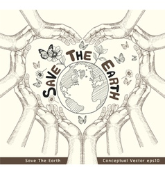 Hands save the earth drawing conceptual vector image vector image