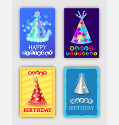 happy birthday set of bright celebrating cards vector image