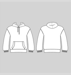 Hoodie man template front back views vector