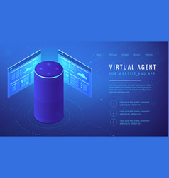 Isometric virtual agent landing page vector