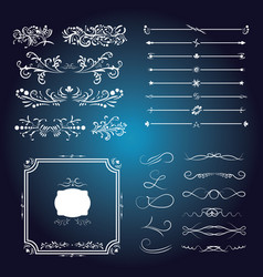 large set of victorian calligraphic swirls vector image