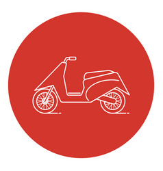 line art style moto scooter icon vector image