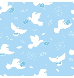 Mail pigeons seamless pattern background vector image
