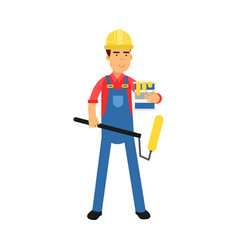 male worker character with paint roller and bucket vector image