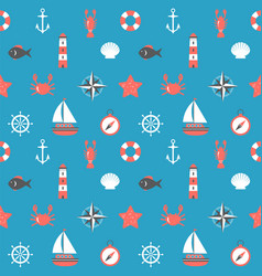 marine cartoon seamless pattern nautical vector image