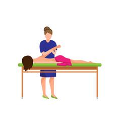 medical treatment massage hand ill woman at vector image