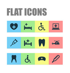 medicine icons set with nurse hat helicopter vector image