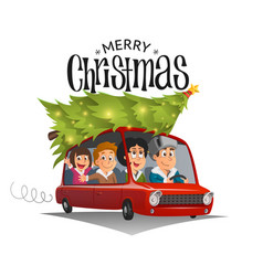 Merry christmas family holidays on car vector