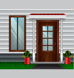 Modern house door composition vector