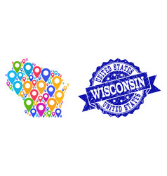 Mosaic map of wisconsin state with map pins and vector
