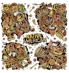 Native american cartoon doodle designs set vector