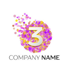 Number three logo red particles and bubble dots vector