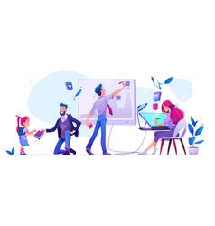 Office work school education cartoon vector