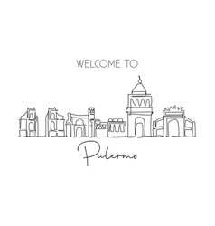 one continuous line drawing palermo city skyline vector image
