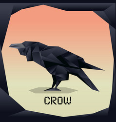 Origami black crow vector