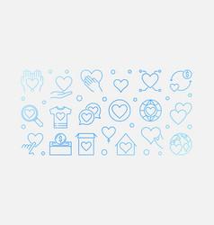 philanthropy blue outline horizontal banner vector image
