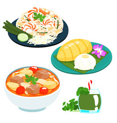 Popular thai sweet mango sticky rice set vector