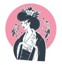 Portrait beautiful geisha for your logo vector