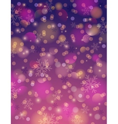 Purple background with snowflake and bokeh vector