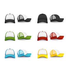 Realistic colorful baseball cap mockup set from vector