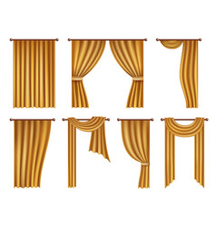 Realistic golden window curtains and drapes vector