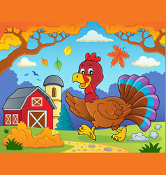 running turkey bird theme image 4 vector image
