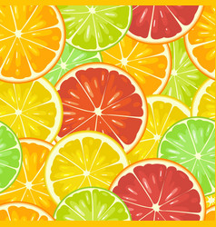 Seamless pattern citrus fruits slice lemon lime vector