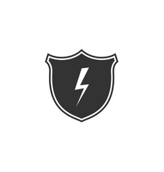 secure shield with lightning icon isolated flat vector image
