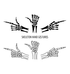 seleton hands gestures silhouettes vector image