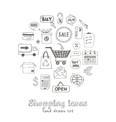 Set doodle sketch shopping icons vector