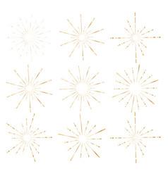 Set of golden sunburst style isolated vector