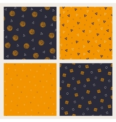 Set of hand drawn Halloween seamless patterns vector image