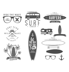 Set vintage surfing graphics and emblems vector