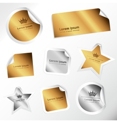 silver and gold stickers vector image
