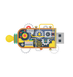 Steampunk vintage usb flash drive with different vector