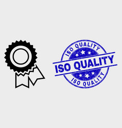 stroke award seal icon and scratched iso vector image