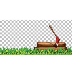 Stump with ax on transparent background vector