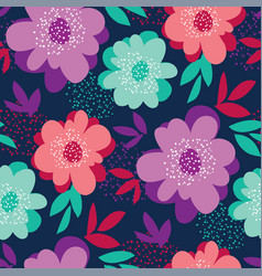 Summer vivid color floral seamless pattern vector