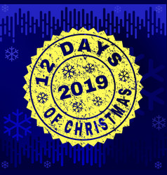 Textured 12 days of christmas stamp seal on winter vector
