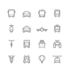 transportation icons in thin line style front view vector image