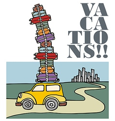 Vacations a car running away from the city vector image