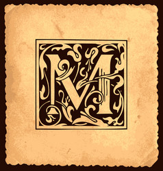 Vintage initial letter m with baroque decorations vector