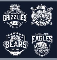 Vintage sport teams monochrome emblems vector