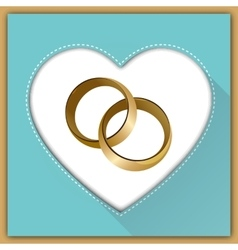 Wedding card with two rings vector
