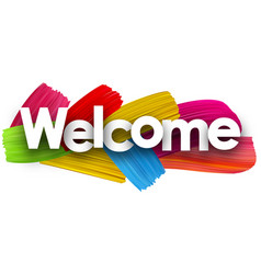 welcome poster with brush strokes vector image